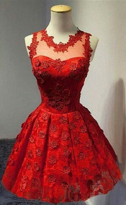 Red V-Neck Applique  Cocktail Dress Mini Stunning Homecoming Dresses with Flowers_1