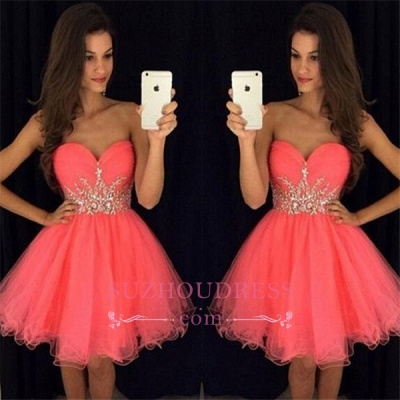 Mini A-line Homecoming Dress  Tulle Sweetheart Beadings Hoco Dress_1