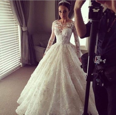 New Arrival Ball Gown Princess Dress Long Sleeve 3D Lace Wedding Dress  BA2810_3