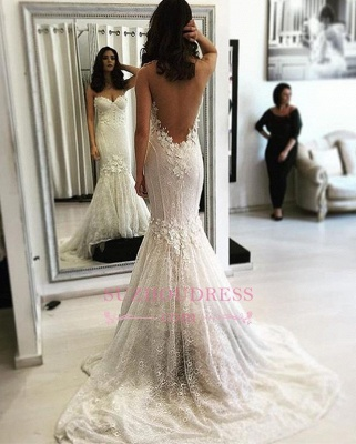 Sexy Backless Sweep-Train Mermaid Lace Sweetheart Wedding Dresses_1