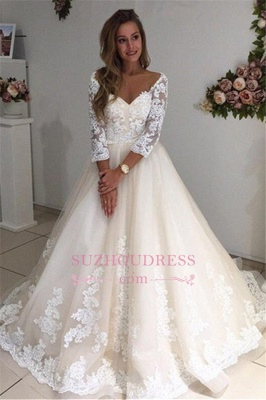 3/4 Sleeves Bridal Gowns  A-Line Champagne Appliques Tulle Backless Lace Wedding Dresses_4