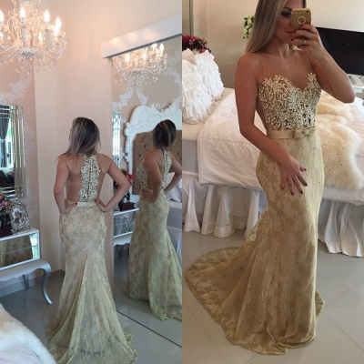 Mermaid Lace Sexy  Prom Dresses Sleeveless Beading Sheer Tulle Evening Gowns BMT118_3