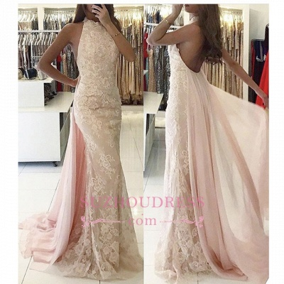 Newest Backless Applqiues Tulle Mermaid Halter Sweep-Train Evening Dress_1