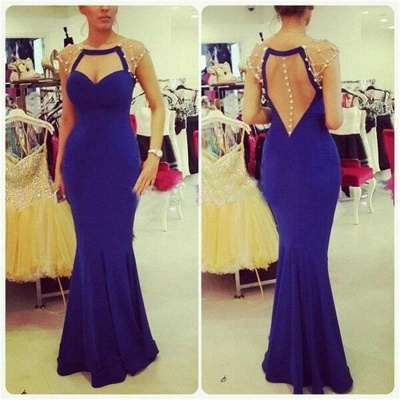 Sexy Mermaid Blue Floor Length Evening Dress Latest Open Back  Formal Occasion Dress_3