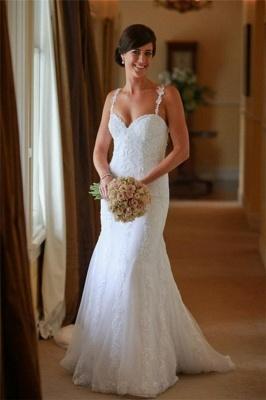 Sexy Spaghetti Lace Appliques Wedding Dress Sheath Court Train Tulle Bride Dresses_4