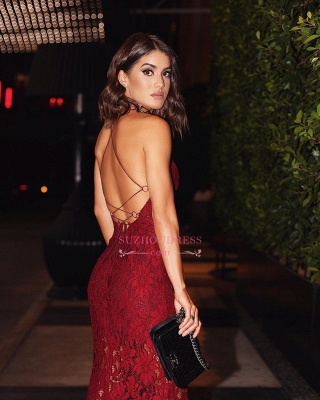 Sexy Two-straps Burgundy Backless Lace Prom Dress_1