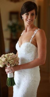 Sexy Spaghetti Lace Appliques Wedding Dress Sheath Court Train Tulle Bride Dresses_1