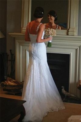 Sexy Spaghetti Lace Appliques Wedding Dress Sheath Court Train Tulle Bride Dresses_3