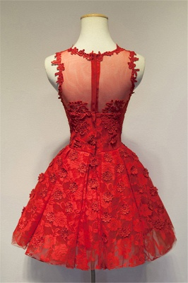 Red V-Neck Applique  Cocktail Dress Mini Stunning Homecoming Dresses with Flowers_2