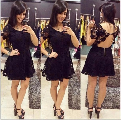 Short Sleeve Black Lace Homecoming Dress Sexy Open Back Mini Summer Dresses_3