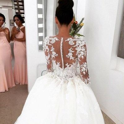 New Arrival Ball Gown Princess Dress Long Sleeve 3D Lace Wedding Dress  BA2810_4