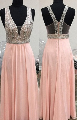 New Arrival Crystal Prom Dress with Beadings Sparkly A-Line Floor Length Zipper Evening Gowns_1