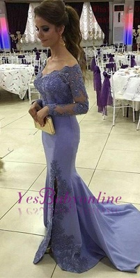 Appliques  Off-the-Shoulder Mermaid Side-Slit Long-Sleeves Elegant Prom Dress_2