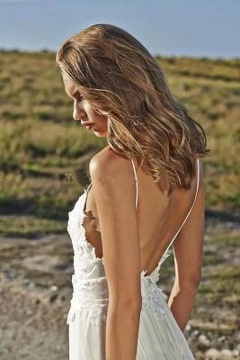 Spaghetti Straps Beach Wedding Dresses  V-neck Open Back Chiffon Bridal Gown BO7255_5