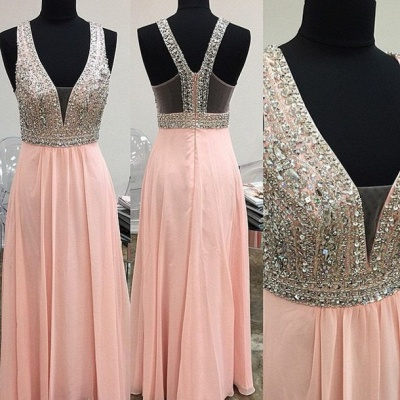 New Arrival Crystal Prom Dress with Beadings Sparkly A-Line Floor Length Zipper Evening Gowns_2