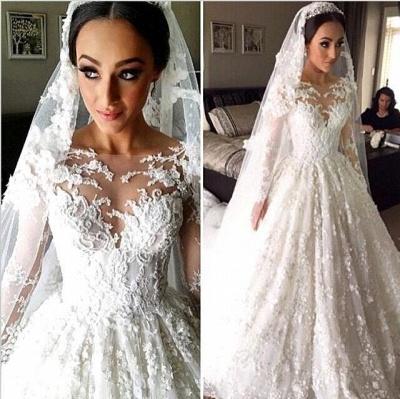 New Arrival Ball Gown Princess Dress Long Sleeve 3D Lace Wedding Dress  BA2810_5