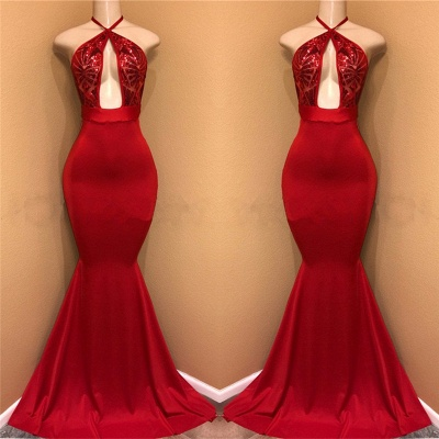 Halter Sexy Open Front Red Prom Dresses | Mermaid  Long Evening Dress_3