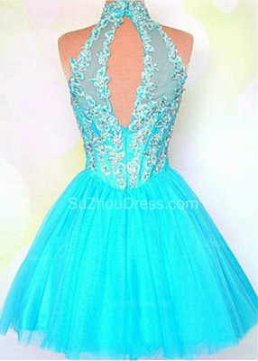 Blue High Collar Halter Crystal Mini Homecoming Dress Tulle Applique Zipper Short Cocktail Dress_2