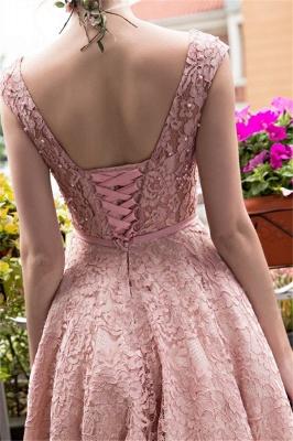 Lace-up Lace Tea-Length Beadings Glamorous A-Line Homecoming Dresses BA4112_4
