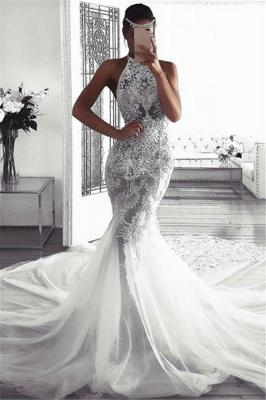 Elegant Sleeveless Halter Wedding Dresses | Sexy Mermaid Tulle Bridal Dresses_1
