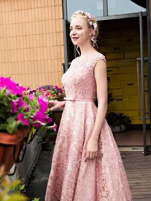 Lace-up Lace Tea-Length Beadings Glamorous A-Line Homecoming Dresses BA4112_6