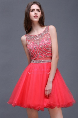 Sleeveless Cute Crystal Beads A-Line Applique Rose Short Evening Dresses_5