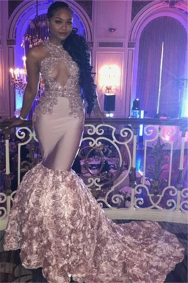 Sexy Pink High-Neck Mermaid Prom Dresses  Appliques Sleeveless Keyhole Evening Dresses with Beadings SK0138_1