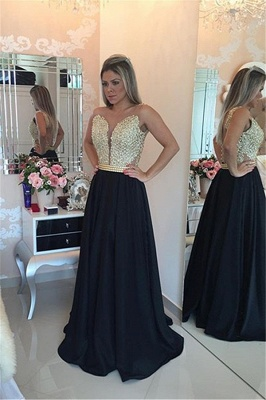 Black Prom Dresses Sleeveless Gold Beads Illusion Back Evening Gowns_1