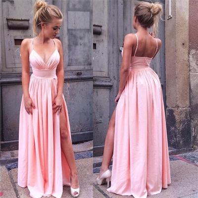 Spaghetti Straps Sexy Pink Formal Dresses Chiffon Open Back Side Slit V-neck  Evening Dress_3