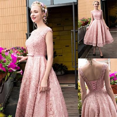 Lace-up Lace Tea-Length Beadings Glamorous A-Line Homecoming Dresses BA4112_5
