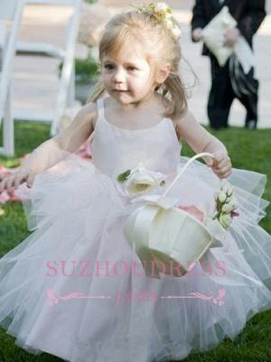 Sleeveless Straps Tulle Cute Pageant Dress  Long Flower Girl Dress_3