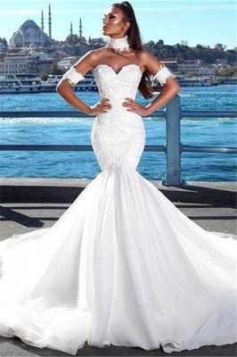 Alluring Lace Wedding Dresses with Choker Mermaid Sweetheart Modern Bridal Gowns Online_1