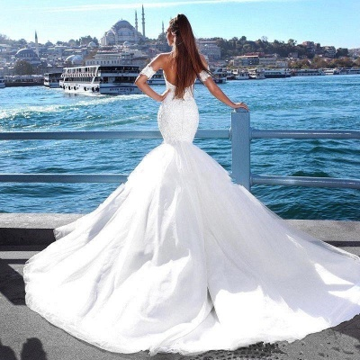 Alluring Lace Wedding Dresses with Choker Mermaid Sweetheart Modern Bridal Gowns Online_4