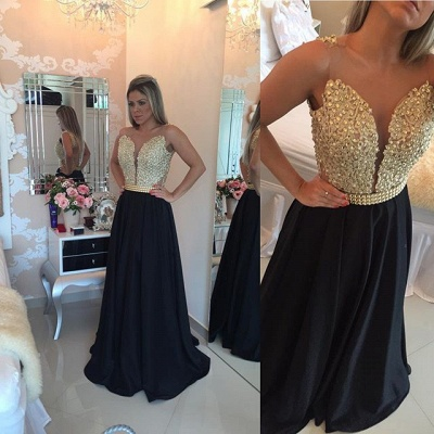 Black Prom Dresses Sleeveless Gold Beads Illusion Back Evening Gowns_4
