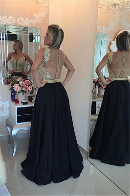 Black Prom Dresses Sleeveless Gold Beads Illusion Back Evening Gowns_3