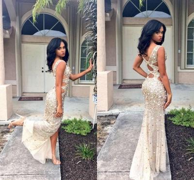 Sparkly Beads Crusyals Prom Dresses Side Slit Cutaway Evening Dress BA4156_4