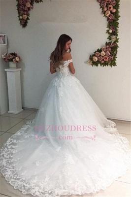 White Strapless Appliques Off The Shoulder Bride Dress  Lace A-Line Wedding Dresses_1