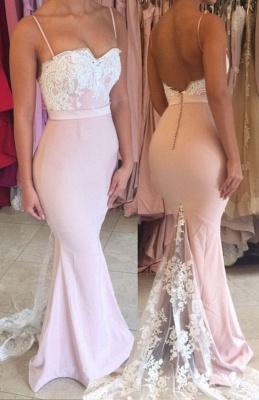 Spaghetti Straps Lace Mermaid Evening Dress Open Back Buttons  Formal Dress FB0034_4