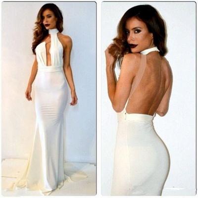 Sheath White Halter Backless Evening Dress Sexy Floor Length Simple Popular Custom Made Dresses for Women_2