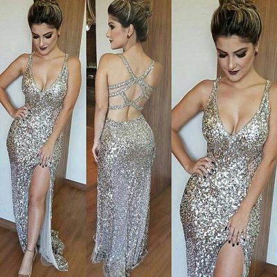 Silver Shiny Sequins Evening Dress   Open Back Formal Dress with Slit BA6340_3