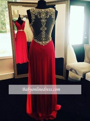 Crystal Long Beading  Evening Dresses Sleeveless Red Prom Dresses_1