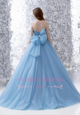 Romantic Strapless Blue Bow Strapless Tulle Wedding Gowns  Sleeveless Sparkly Evening Dress with Bowknot_3