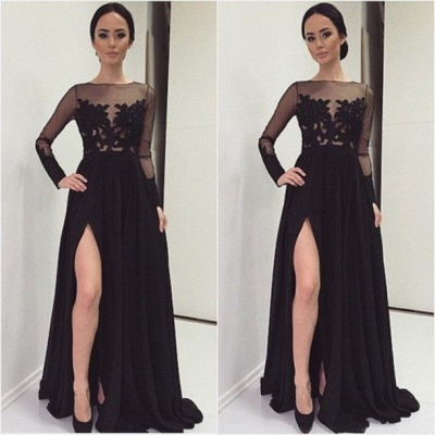 A-Line Black Long Sleeve Tulle Lace Evening Dress Latest Sweep Train Side Slit Prom Dresses TB0258_2