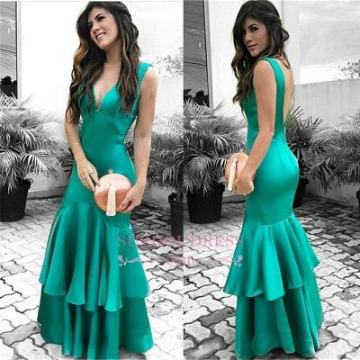 Green Sleeveless Prom Dresses   Open Back Ruffles Sexy Evening Dresses_3
