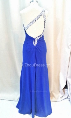 Formal Crystal One Shoulder Royal Blue Long Dresses for Juniors Chiffon Fitted Cheap Modest Zipper Prom Dresses_4