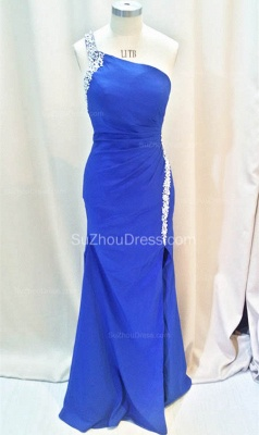 Formal Crystal One Shoulder Royal Blue Long Dresses for Juniors Chiffon Fitted Cheap Modest Zipper Prom Dresses_3