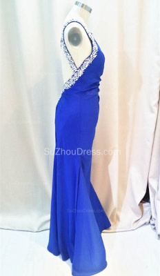 Formal Crystal One Shoulder Royal Blue Long Dresses for Juniors Chiffon Fitted Cheap Modest Zipper Prom Dresses_2