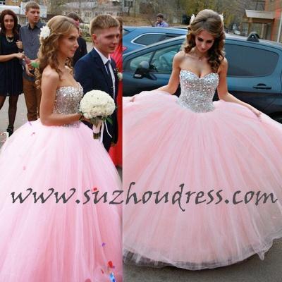 Vestido de Debutante Pink Ball Gown Wedding Dress Sweet Quinceanera Dresses with Crystals CJ0324_2