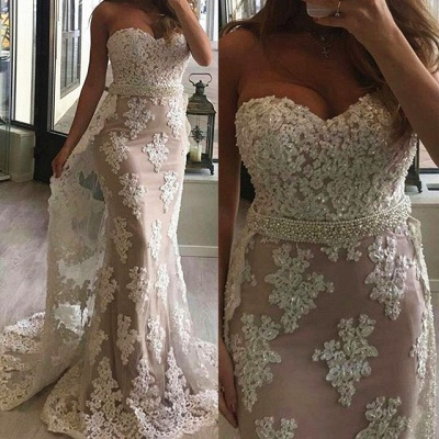 Sweetheart Sheath Lace Prom Dresses with Beads Belt Sexy Long Evening Gown with Long Train_3