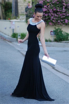 Sexy Backless  Evening Dresses Crystals Black Long Sheath Prom Gowns_1